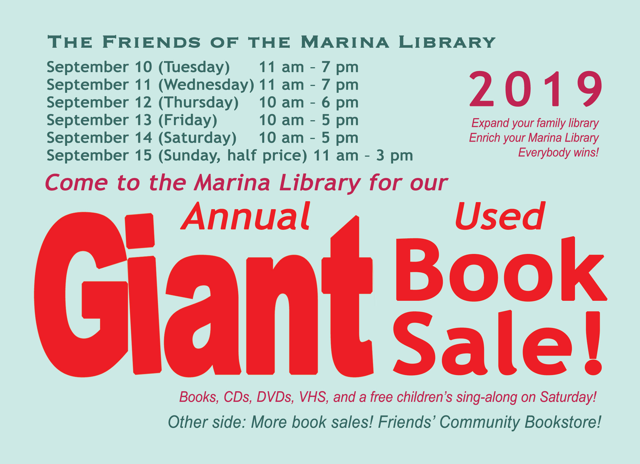 Book Sales & Book Donations | The Friends of the Marina Library