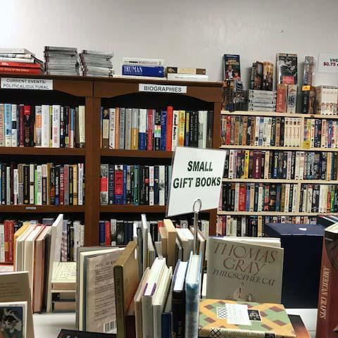 Image: Shelves of books at the community bookstore