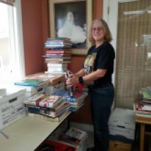 Image: Sorting books for the Friends book sale